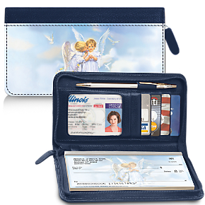 Angel Kisses Zippered Checkbook Cover Wallet