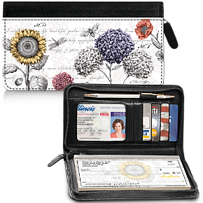 A Touch of Color Genuine Leather Zippered Checkbook Cover Wallet