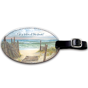A Walk on the Beach Leather Luggage Tag