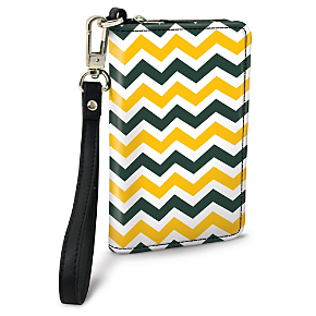 Green and Gold Chevron Small Wristlet Purse