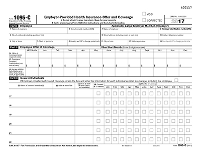 1095-C Employer Provided Health Insurance IRS Landscape Copy