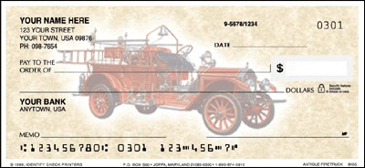 Antique Fire Trucks Checks - 1 box - Duplicates