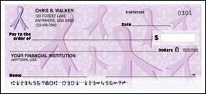 Purple Ribbons of Support Checks - 1 box - Singles
